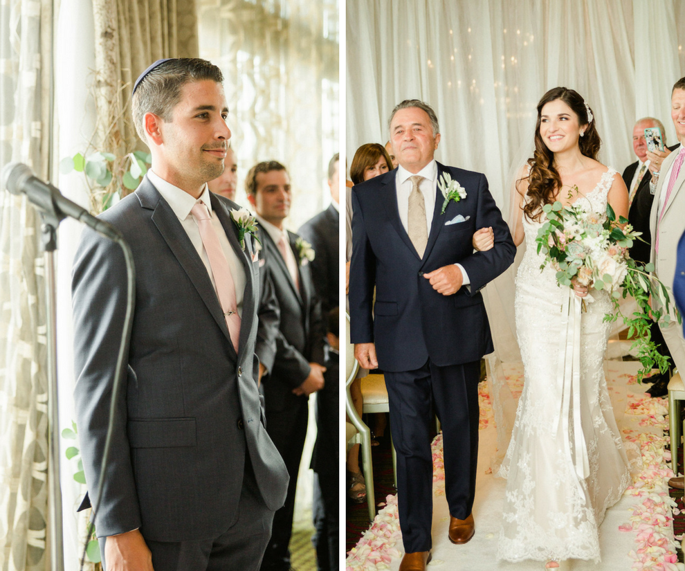 Groom Watching Bride Walk Down Aisle Wedding Portrait | St. Petersburg Wedding Venue The Birchwood | Tampa Bay Wedding Photographer Ailyn La Torre Photography