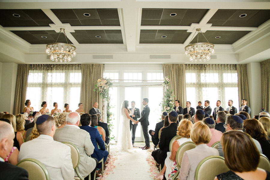 Romantic, Ivory, Blush and Gold Wedding Ceremony Ideas and Inspiration with Rustic Arch with Blush and Ivory Flowers | St. Petersburg Wedding Venue The Birchwood | Tampa Bay Wedding Photographer Ailyn La Torre Photography