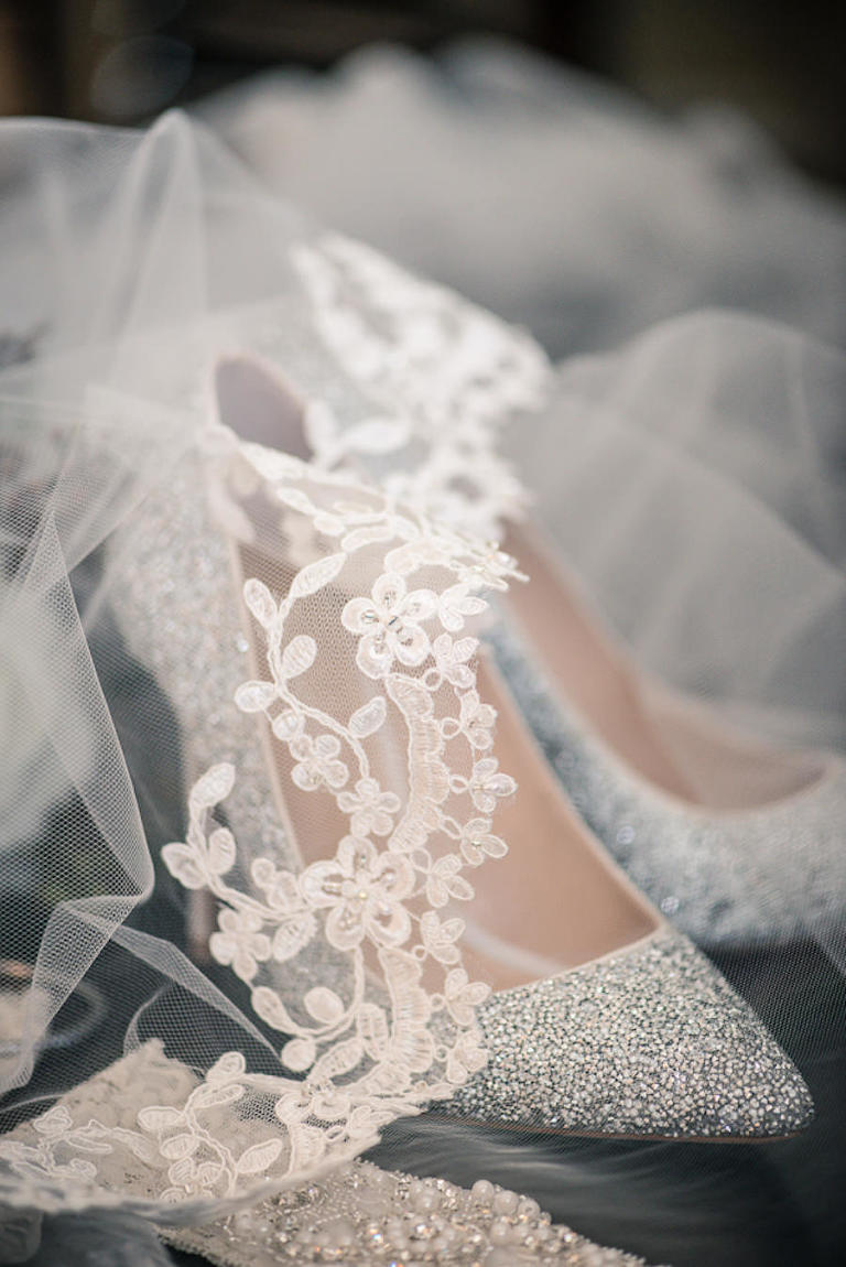 Getting Ready Bridal Accessorices | Silver Glitter Bridal Heels with Pearl and Rhinestone Garter and Chantilly Lace Scalloped Veil
