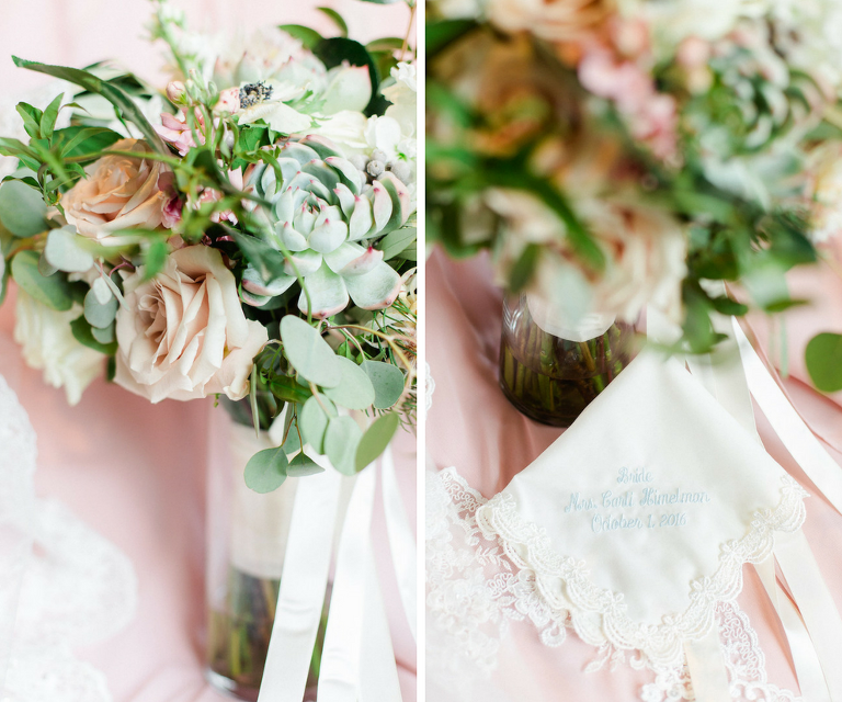 Getting Ready: Ivory and Blush Rose with Succulents and Greenery Bride Bouquet with Ivory and Baby Blue Handkerchief