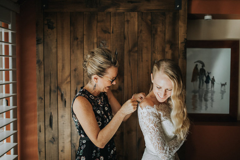 Bridal Wedding Day Getting Ready Portrait of Bride and Mom | Lace Off the Shoulder Ivory Wedding Dress | Tampa Wedding Photography Rad Red Creative