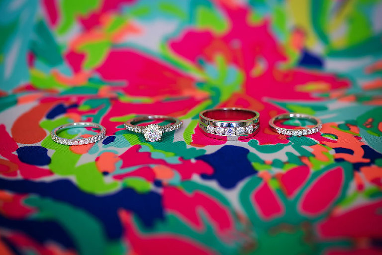 Bride and Groom Wedding and Engagement Ring Portrait on Lilly Pulitzer Dress | Sarasota Wedding Photographer by Limelight Photography