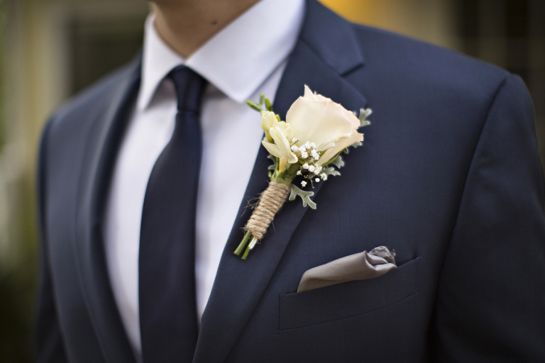 Ivory Rose With Twine and Baby's Breath Boutonniere