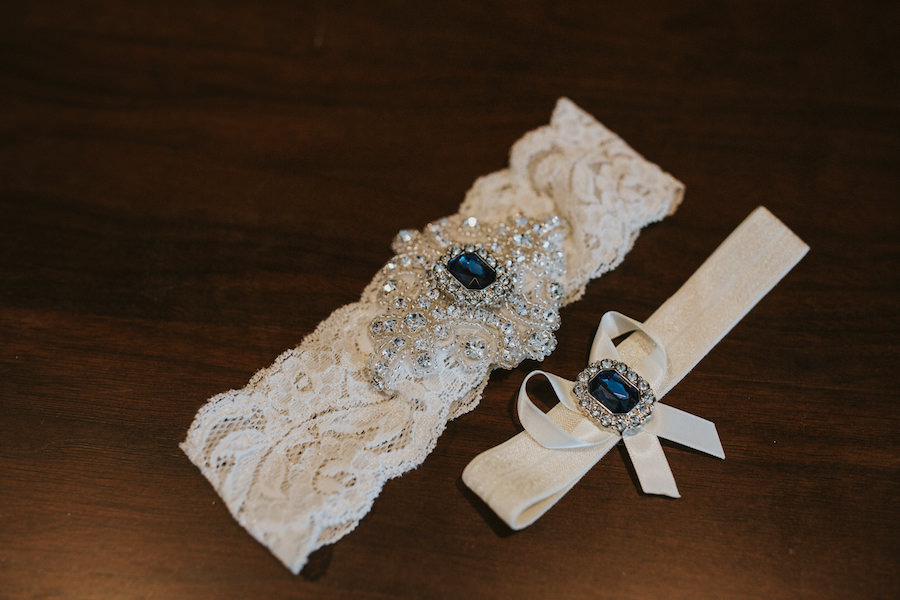 Getting Ready Ivory with Blue and Silver Rhinestone Bridal Garter