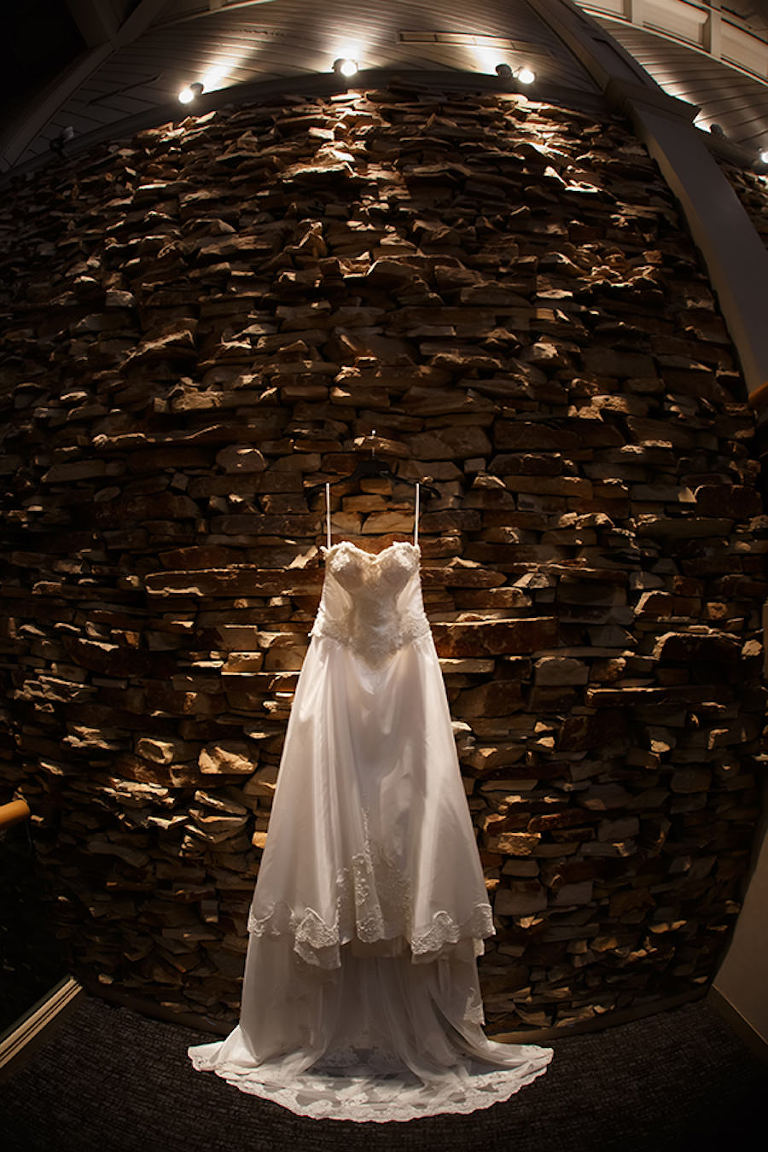 Ivory Satin Lace Strapless Sweetheart Bridal Gown   Clearwater Wedding Photographer Brian C. Idocks Photographics
