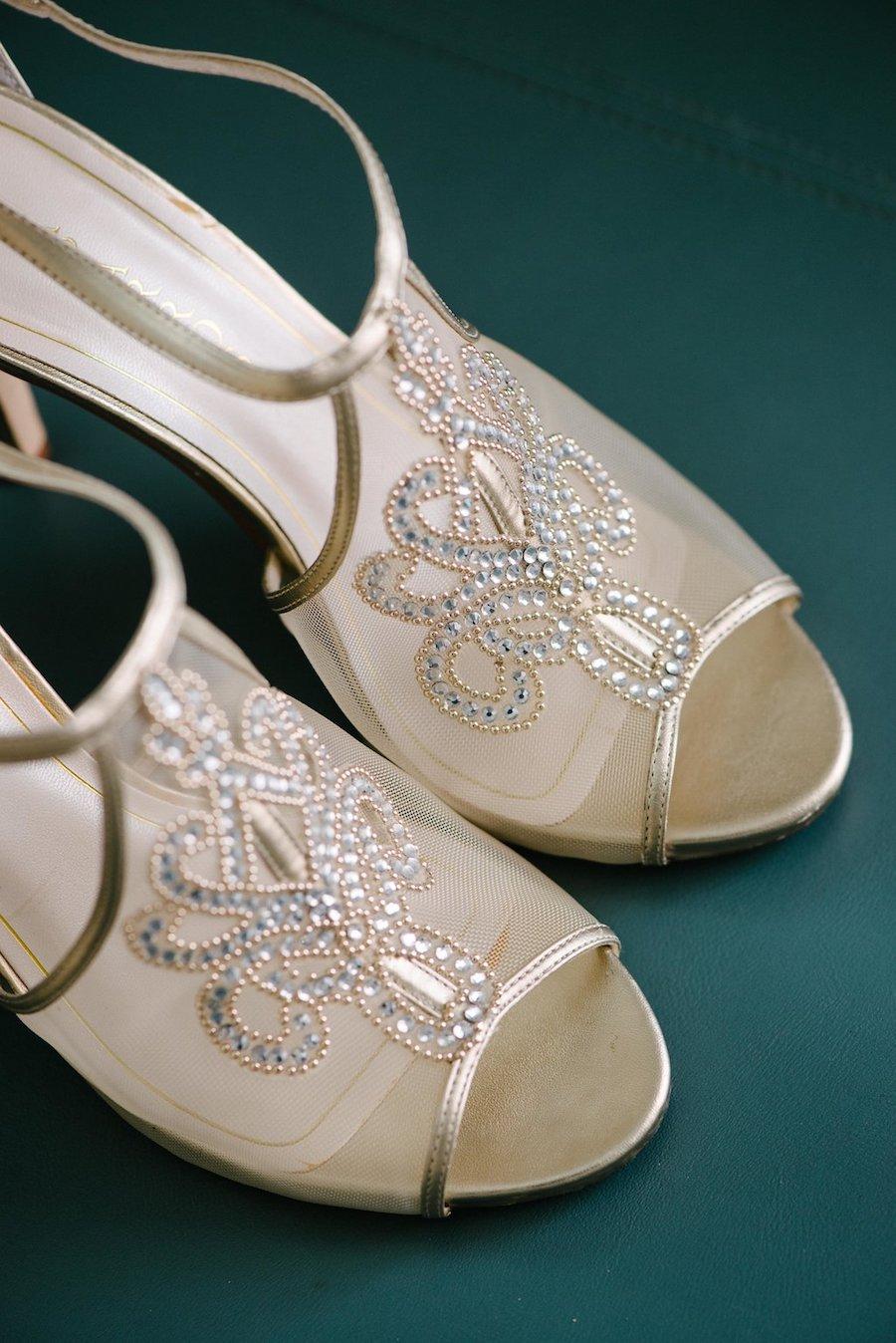 Gold Rhinestone Bridal Wedding Heels