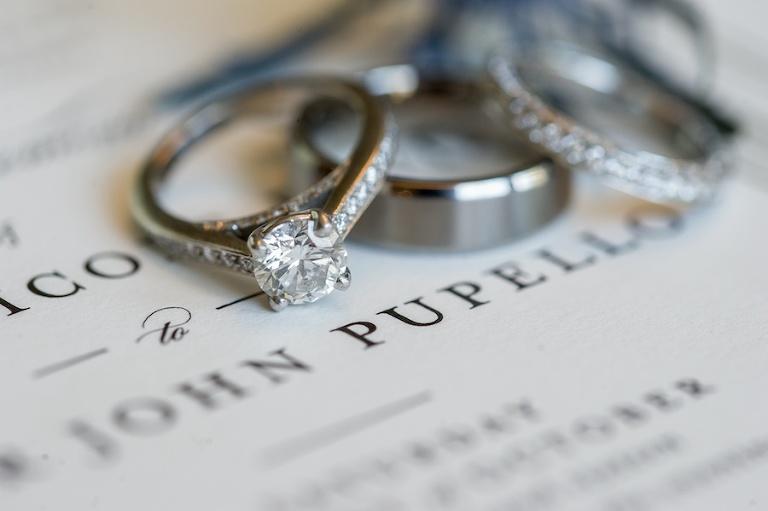 Bride and Groom Wedding and Engagement Ring Portrait on Wedding Program   Tampa Bay Wedding Photographer Andi Diamond Photography