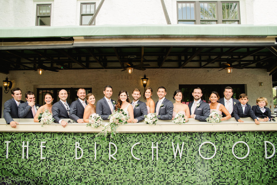 Outdoor, Downtown St. Petersburg Bridal Party Wedding Portrait with Bridesmaids in Blush Pink Dresses | St. Petersburg Wedding Venue The Birchwood | Tampa Bay Wedding Photographer Ailyn La Torre Photography