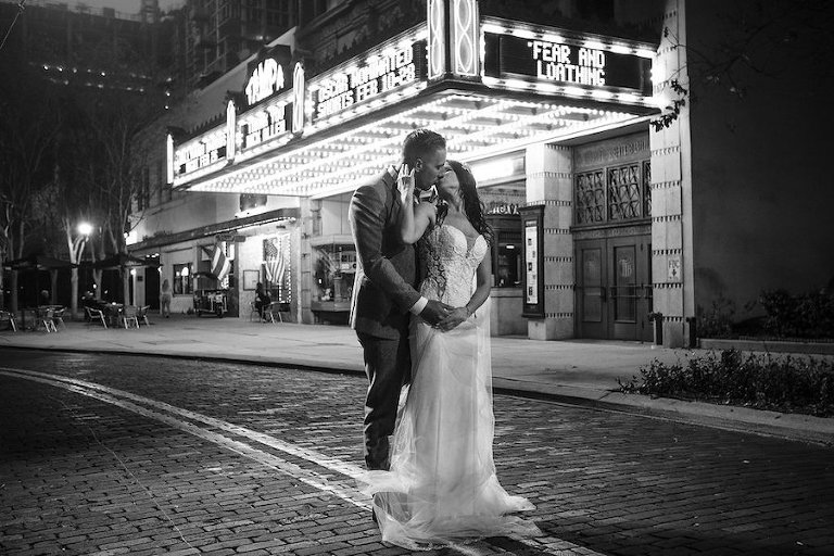 Tampa Theatre Bride and Groom Wedding Portrait | Tampa Bay Wedding Photographer Marc Edwards Photographs