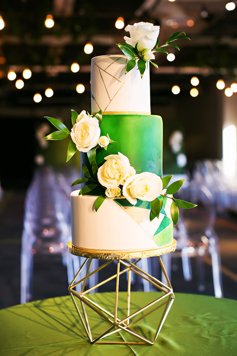 Green, White and Gold Modern Geometric Round Wedding Cake with Cascading Flowers | Tampa Bay Wedding Cake Baker The Artistic Whisk