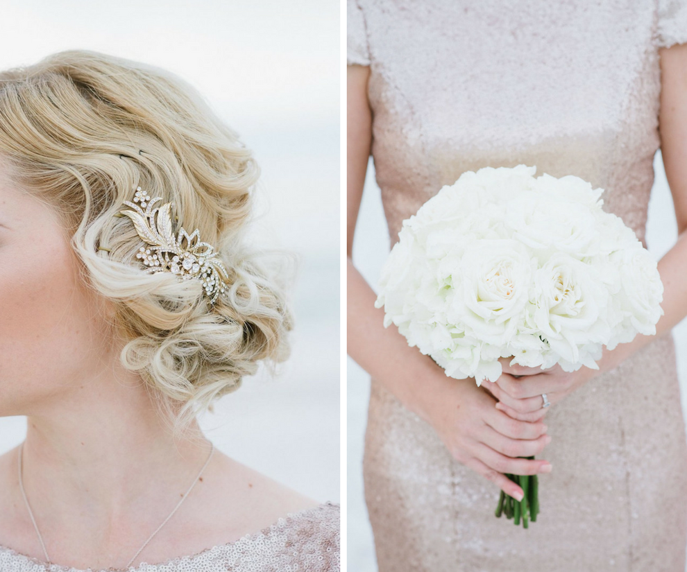 Bridesmaid with Gold Sequin Gown and Gold Rhinestone Hair Clip with Ivory Rose Bouquet Wedding Portrait   St. Petersburg Wedding Venue The Don CeSar   Tampa Bay Wedding Photographer Jonathan Fanning Studio and Gallery