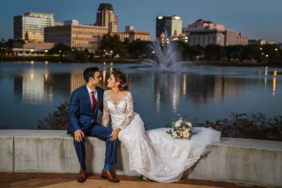 Downtown St. Pete Florida Bride and Groom Wedding Portrait