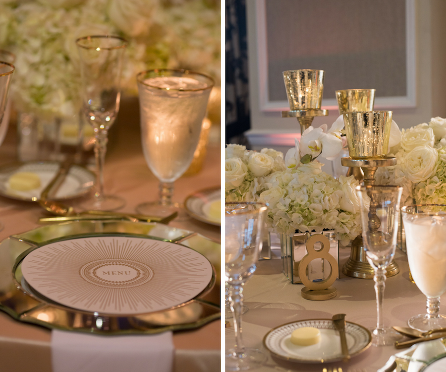 1920s Great Gatsby Themed Wedding Gold Wedding Reception Decor