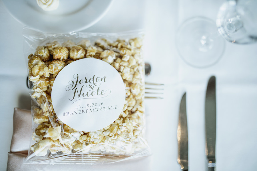 Caramel Popcorn Wedding Favors With Personalized Sticker with Wedding Date and Hashtag   Wedding Venue Sarasota Yacht Club   Tampa Bay Wedding Planner NK Productions
