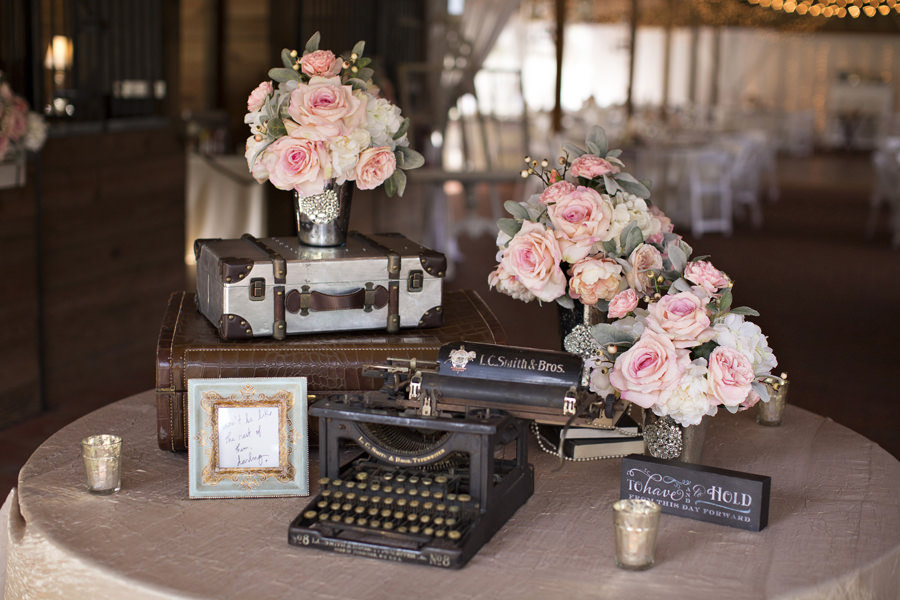 Ivory And Pink Rose Floral Centerpieces With Vintage Typewriter