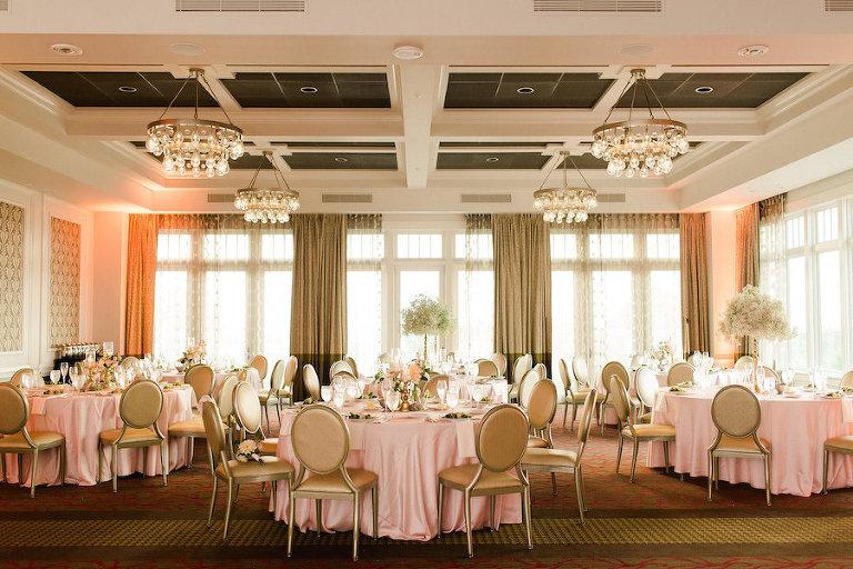 Elegant, Romantic Blush and Gold Wedding Reception Ideas and Inspiration with Tall Babies Breath Centerpieces and Blush Table Linens | St. Petersburg Wedding Venue The Birchwood | Tampa Bay Wedding Photographer Ailyn La Torre Photography