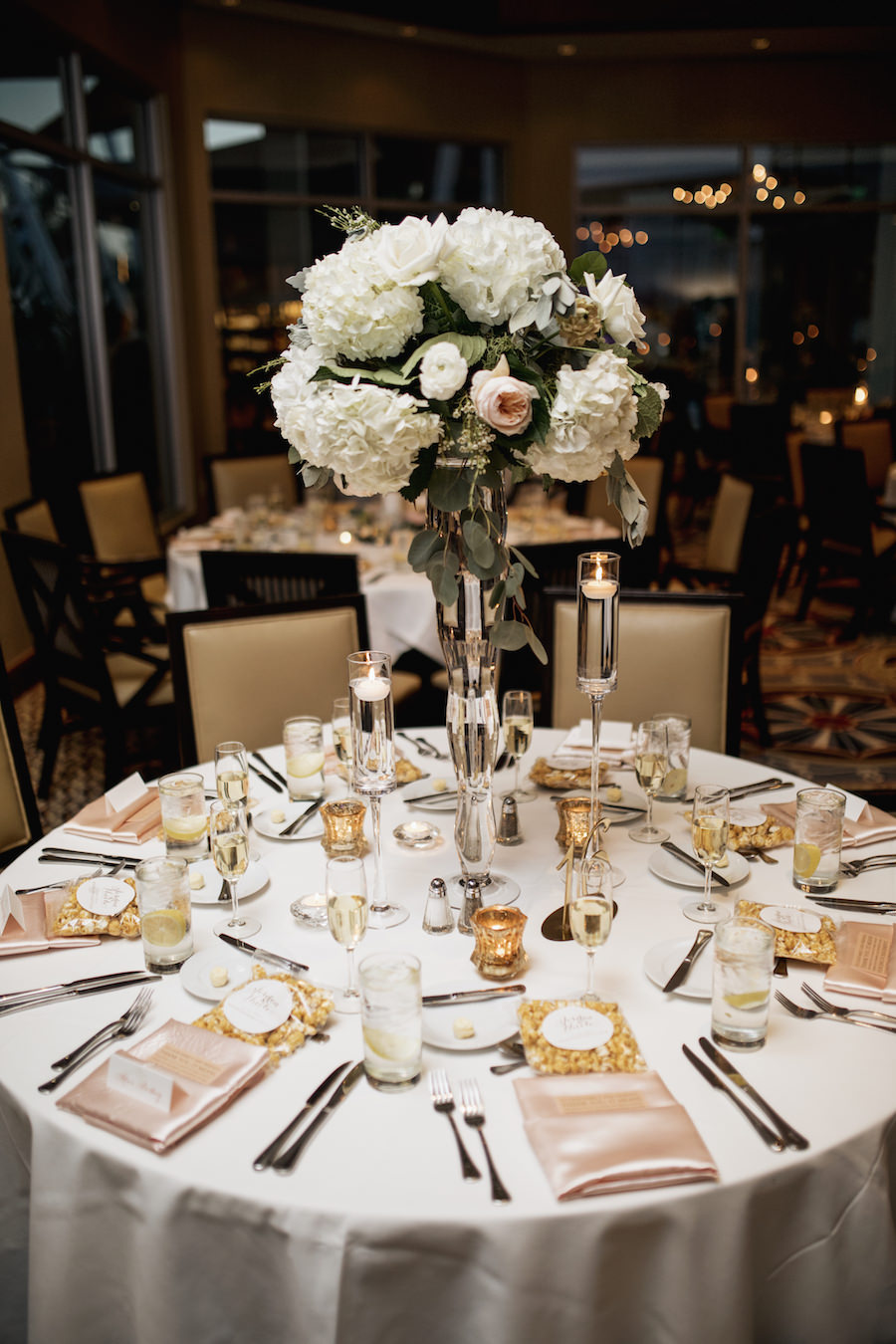 Ivory, Blush and Gold Wedding Reception with Tall White Hydrangea and Blush Rose Centerpieces   Wedding Venue Sarasota Yacht Club   Tampa Bay Wedding Planner NK Productions