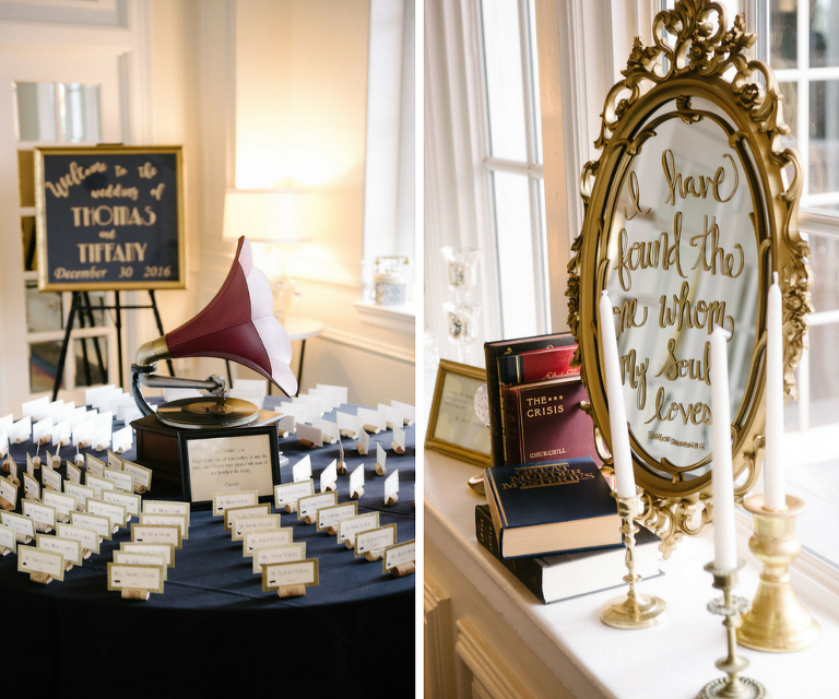 Black and Gold Vintage Wedding Reception Signage with Vintage Wine Cork Placecards and Details | St. Petersburg Wedding Venue The Don CeSar | Tampa Bay Wedding Photographer Jonathan Fanning Studio and Gallery