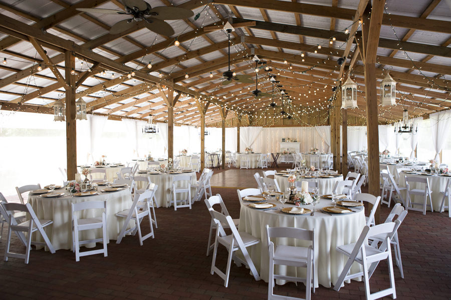 White And Gold Outdoor Rustic Barn Wedding Reception With White