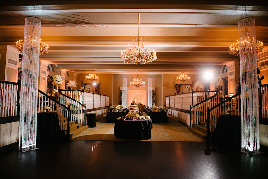 Ivory, Black and Gold Wedding Reception Decor and Inspiration | St. Petersburg Wedding Venue The Don CeSar