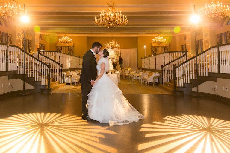 Elegant Romantic Luxurious Ballroom Wedding Reception | Gold Wedding Reception with Chandeliers | Iconic St. Pete Beach Hotel Wedding Venue Ballroom The Don CeSar Wedding | Photographer Brandi Image Photography | Planner Parties a la Carte