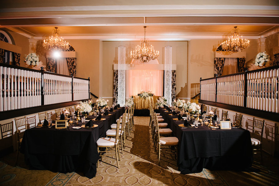 Ivory, Black and Gold Wedding Reception with Long Bridal Party Tables and Sweetheart Table   St. Petersburg Wedding Venue The Don CeSar   Tampa Bay Wedding Photographer Jonathan Fanning Studio and Gallery