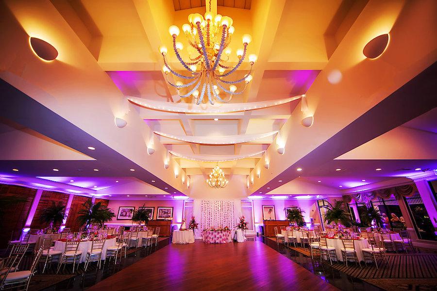 Purple and Gold Wedding Reception Uplighting | Sarasota Wedding Photography by Limelight Photography