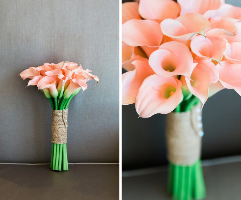 Simple Peach Lilly Bouquet with Long Green Stems Covered in Burlap and Pearl Bridal Bouquet