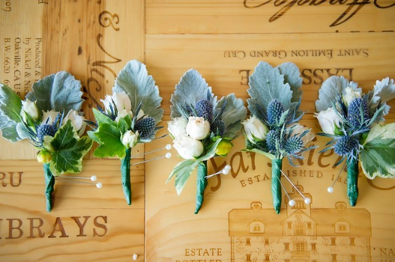 Dusty Miller and Blue Eryngium Boutonnieres