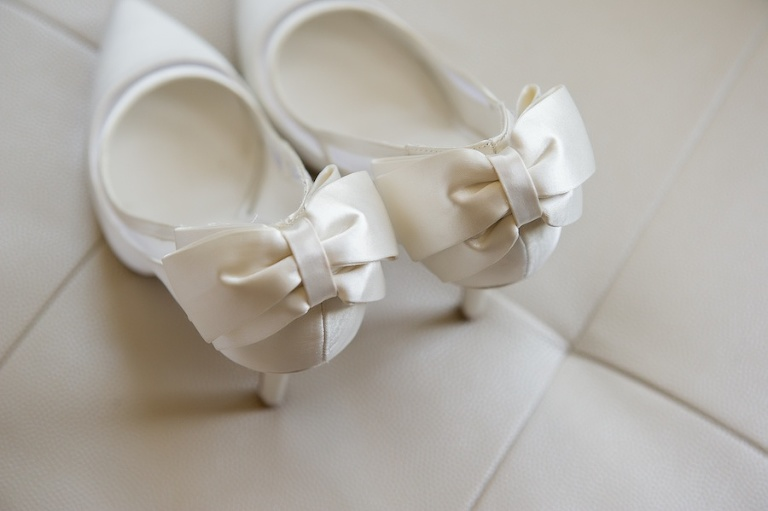 White Satin Wedding Day Shoes with Bow on the Heel