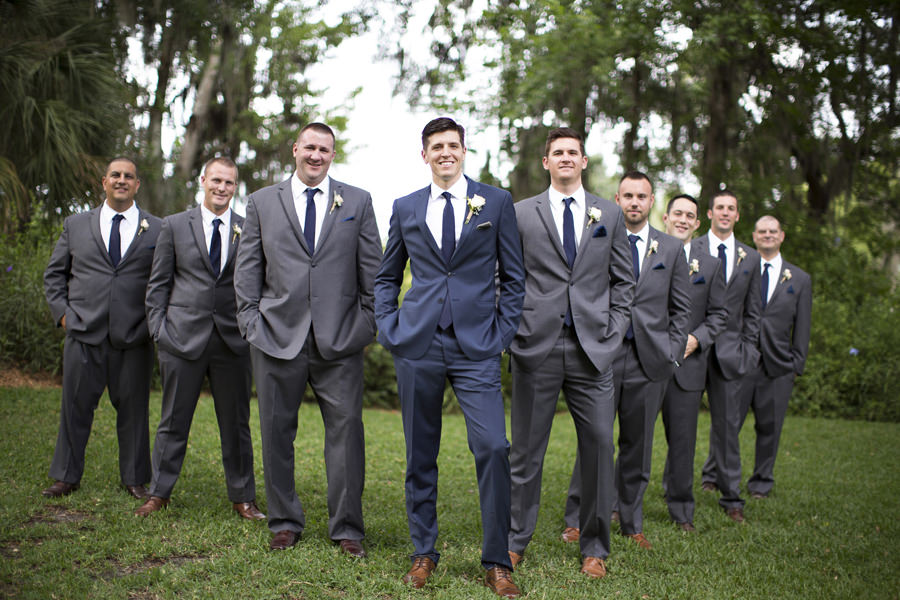 4d6487cc0 Outdoor Wedding Portrait of Groom in Navy Blue Suit and Groomsmen in Grey  Suits | Tampa Bay Wedding Venue Cross Creek Ranch | Wedding Photographer  Djamel ...