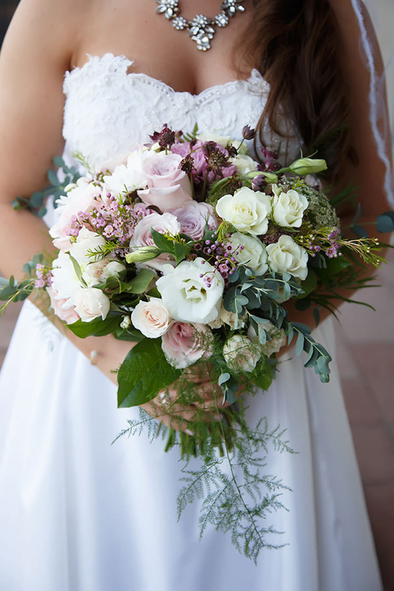 Lavender, Blush Pink, and Ivory Rose Rustic Bridal Wedding Bouquet With Greenery