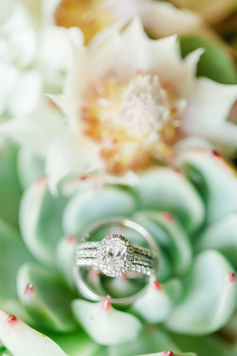 Diamond Halo Oval Engagement Ring | Tampa Bay Wedding Photographer Ailyn La Torre Photography