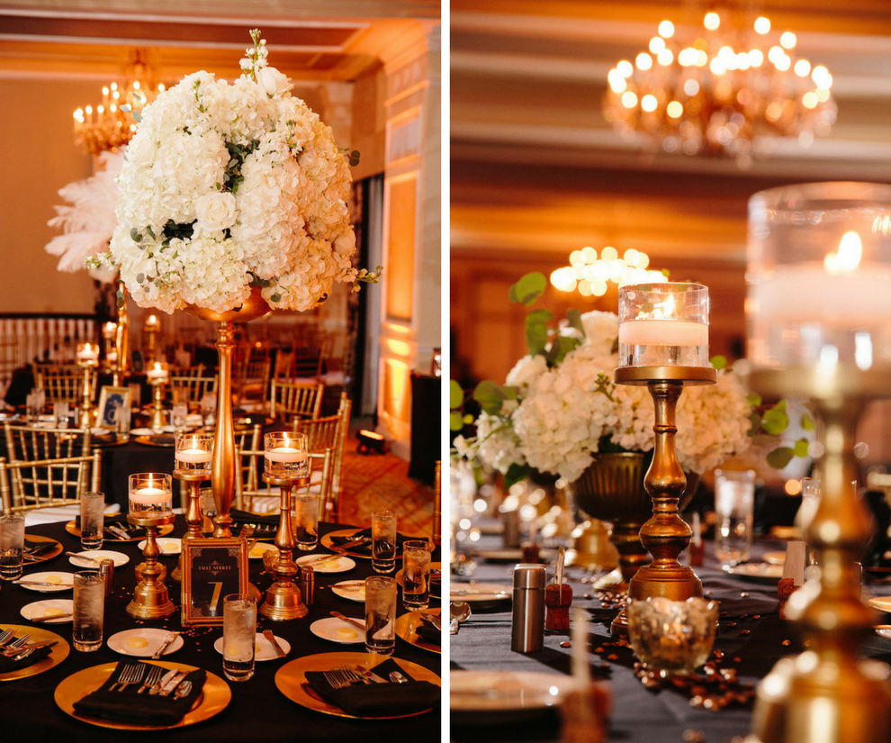 Ivory, Black and Gold Wedding Reception with Tall White Hydrangea and Rose Flowers and Floating Candles   St. Petersburg Wedding Venue The Don CeSar   Tampa Bay Wedding Photographer Jonathan Fanning Studio and Gallery   A Chair Affair
