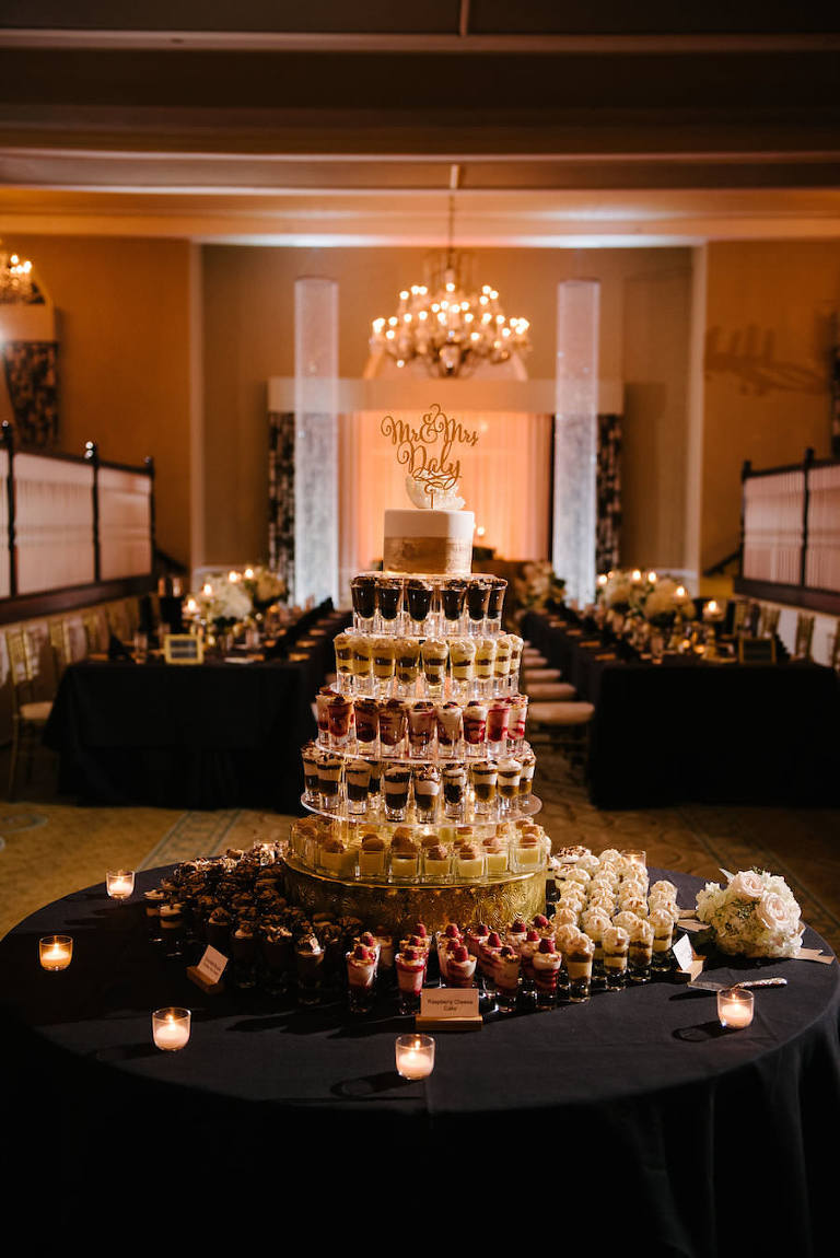 Seven Tiered Dessert Shooter Wedding Cake with Gold and Ivory Cake and Gold Cake Topper | St. Petersburg Wedding Venue The Don CeSar | Tampa Bay Wedding Photographer Jonathan Fanning Studio and Gallery