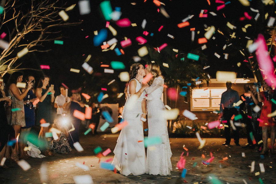 Same Sex Gay Wedding Brides Wedding Exit with Confetti Portrait | Tampa Bay Wedding Photographer Rad Red Creative