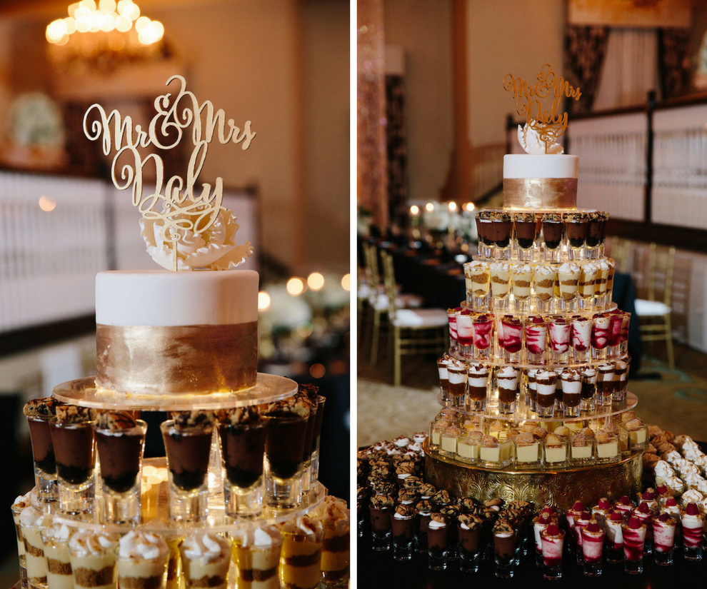 Seven Tiered Dessert Shooter Wedding Cake with Gold and Ivory Cake and Gold Cake Topper   St. Petersburg Wedding Venue The Don CeSar   Tampa Bay Wedding Photographer Jonathan Fanning Studio and Gallery
