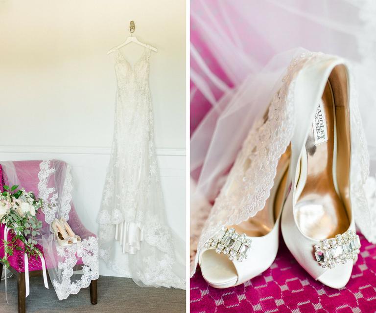 Getting Ready: Ivory Lace Wedding Dress and Veil | Peach Rhinestone Badgley Mischka Wedding Heels