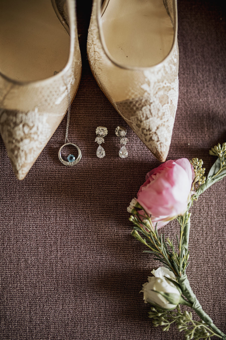 Wedding Getting Ready Details with Neutral Lace Bridal Heels and Rhinestone Jewelry with Pink and Ivory Flower Crown   Tampa Bay Wedding Planner NK Productions