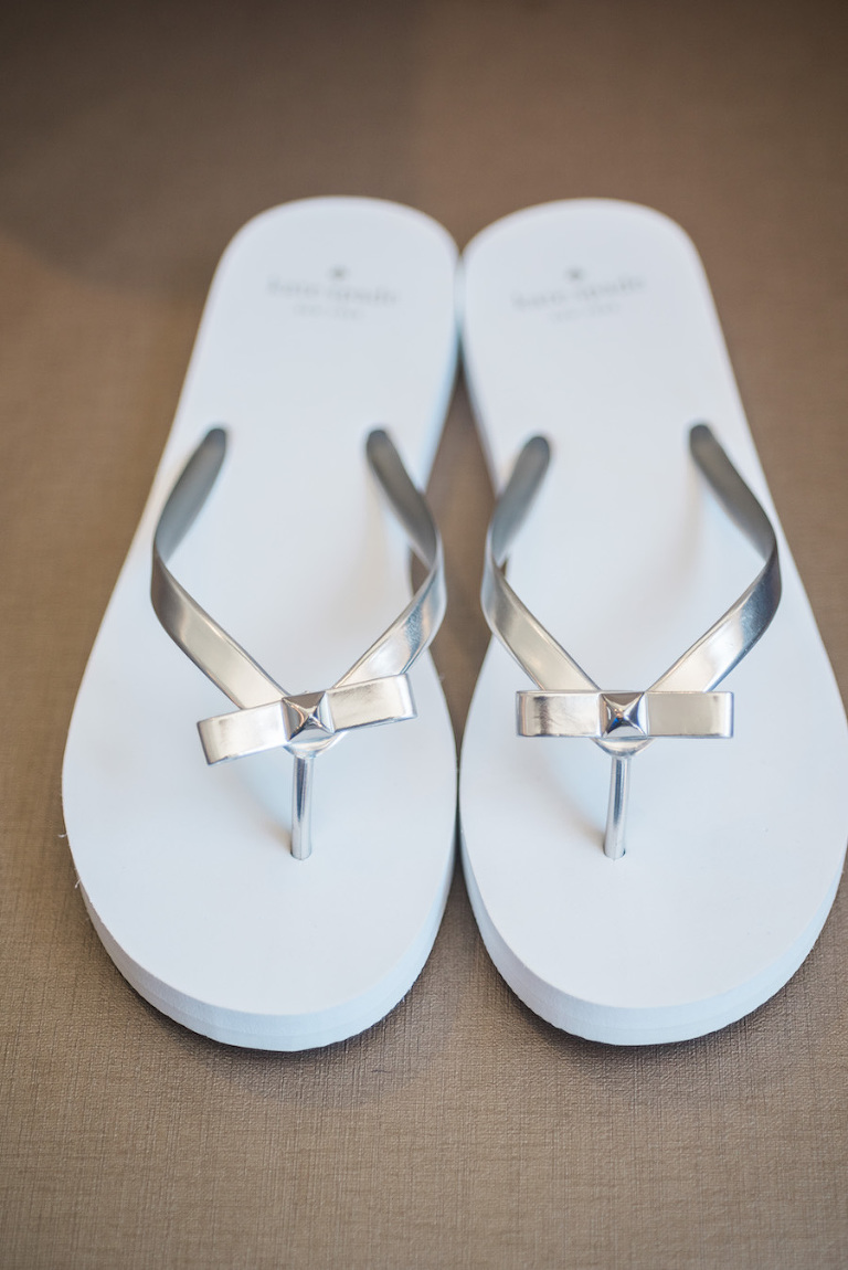 Kate Space White Wedding Sandals with Gold Bow