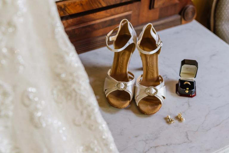 White Satin Wedding Shoes with Wedding Day Jewelry | Bridal Getting Ready Wedding Portrait