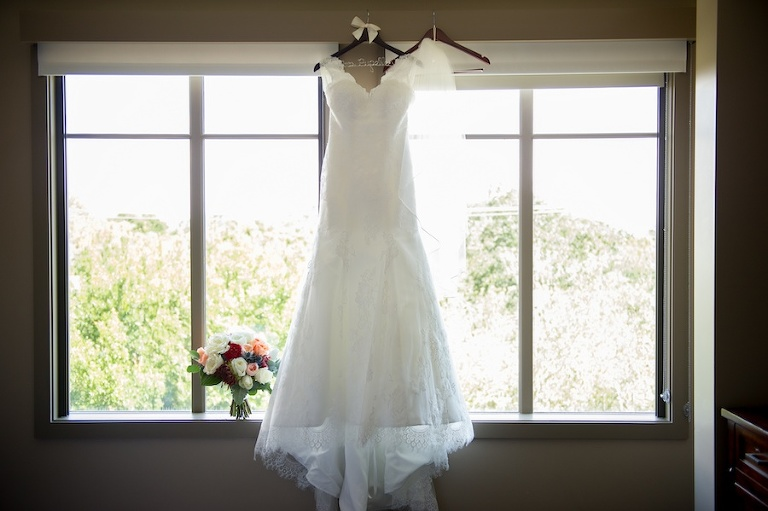 Bridal Lace Wedding Dress with V-Neck Open Back and Lace Cap Sleeves