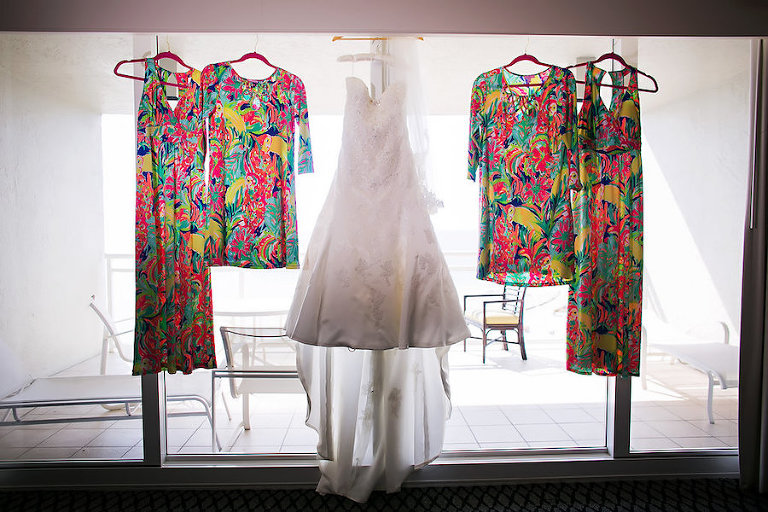 Lilly Pulitzer Multi Colored Bridesmaid Dresses with Ivory Sophia Tolli Beaded Satin Wedding Dress | Sarasota Wedding Photographer Limelight Photography