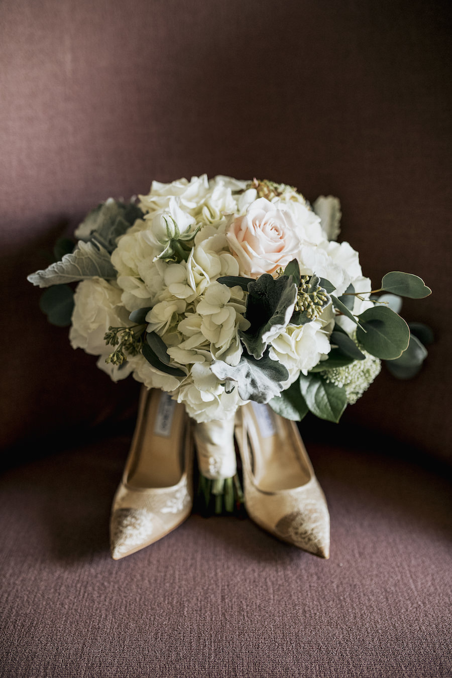 Bridal Bouquet with White Hydrangeas and Ivory and Blush Roses with Neutral Lace Wedding Heels   Tampa Bay Wedding Planner NK Productions