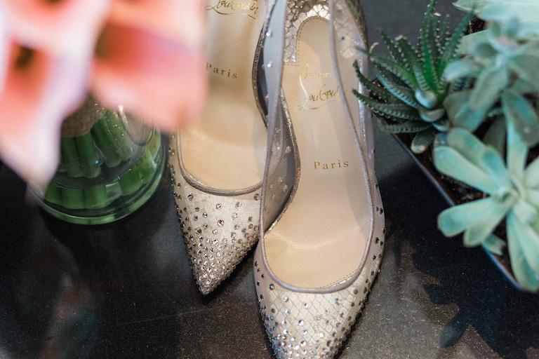 Nude Rhinestone Louboutin Bridal Wedding Heels