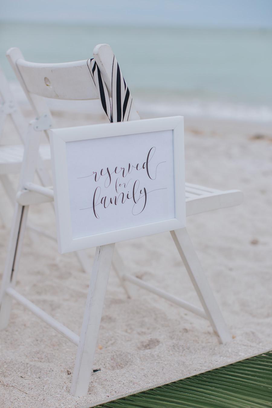 Wedding Ceremony White and Black Reserved For Family Seat Sign | Sarasota Wedding Planner Jennifer Matteo Event Planning