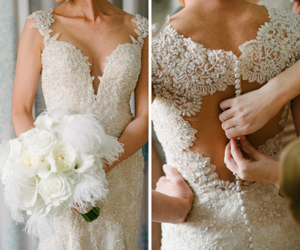 Bride in Lace Beaded Martina Liana Gown with Mesh Overlay and Open Back with Buttons and White Rose and Feather Bouquet Wedding Portrait