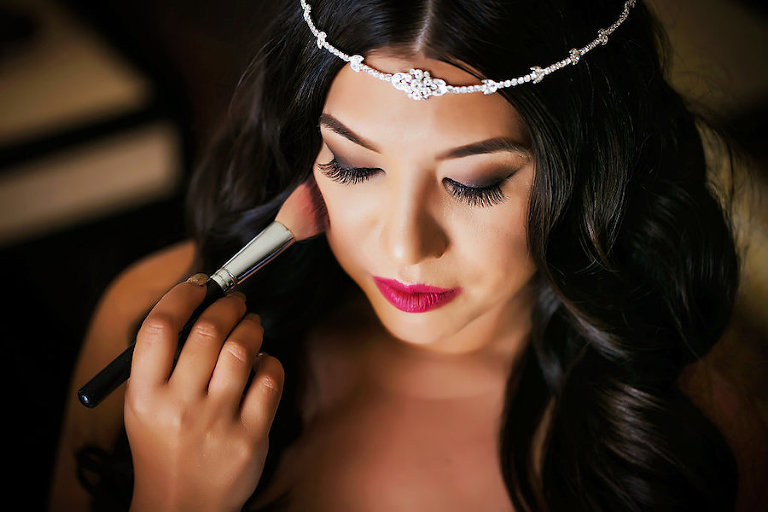 Bridal Glam Makeup Look with Brown Smokey Eye, Wispy False Lashes, and Fuchsia Lip | Sarasota Wedding Photographer Limelight Photography