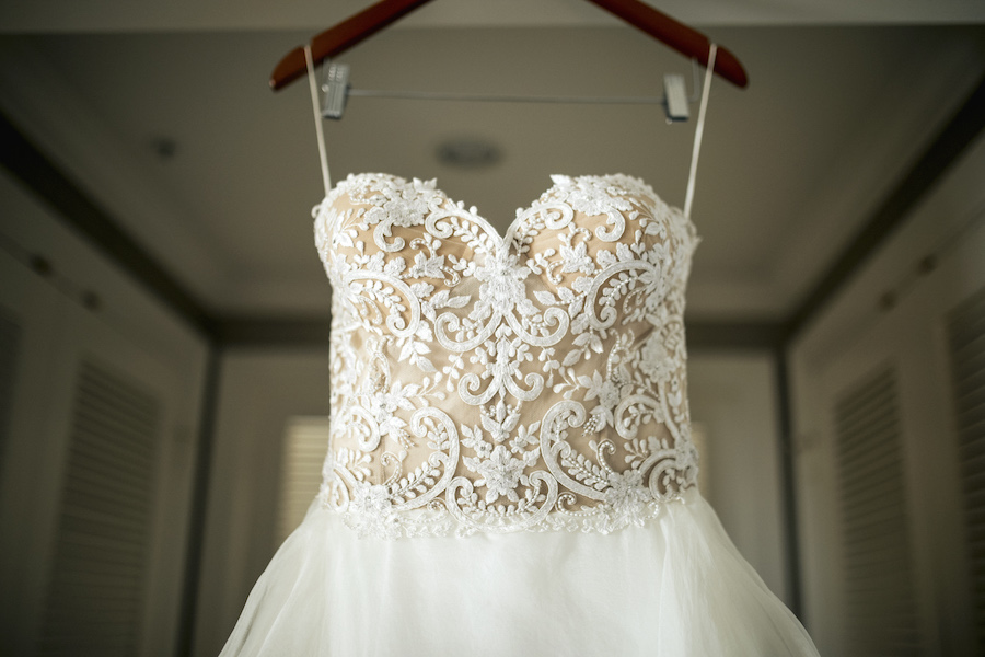 White Lace and Beading on Reem Acra Sweetheart Ballgown