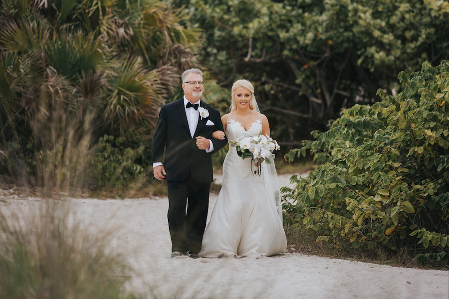 Outdoor Sarasota Wedding Ceremony Bride and Father Walking Down Aisle